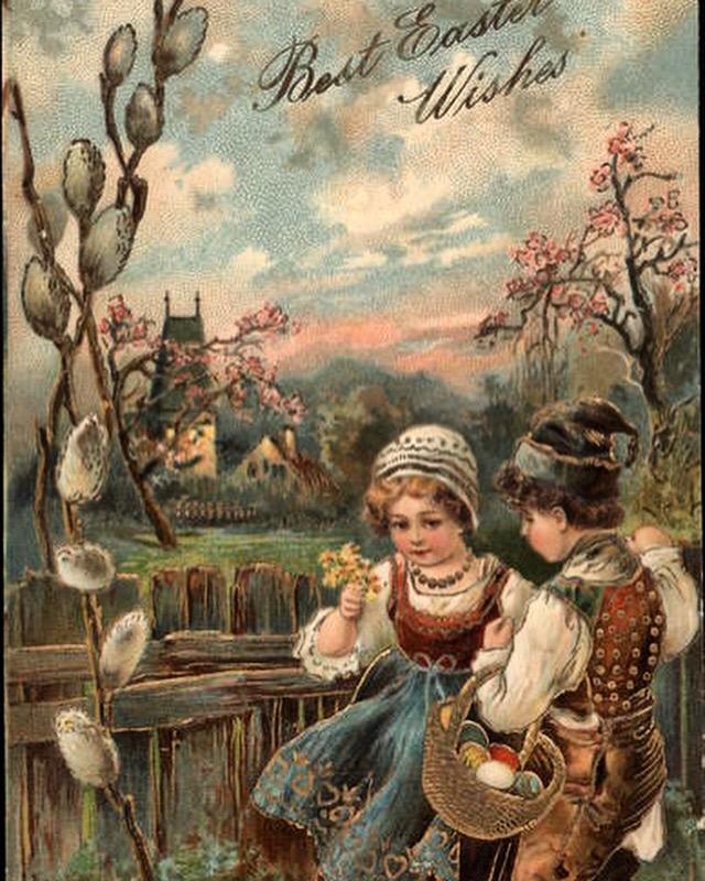 Вербное воскресенье ретро открытки